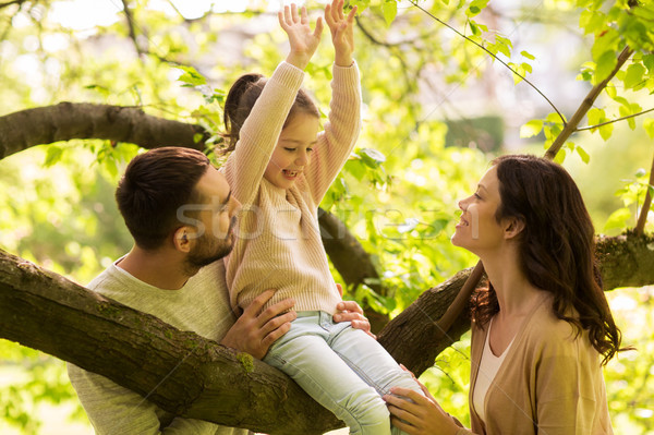 happy family in summer park having fun Stock photo © dolgachov
