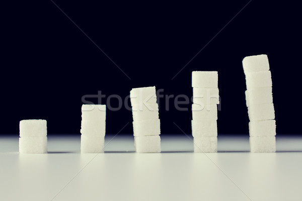 close up of white sugar diagram or chart on table Stock photo © dolgachov