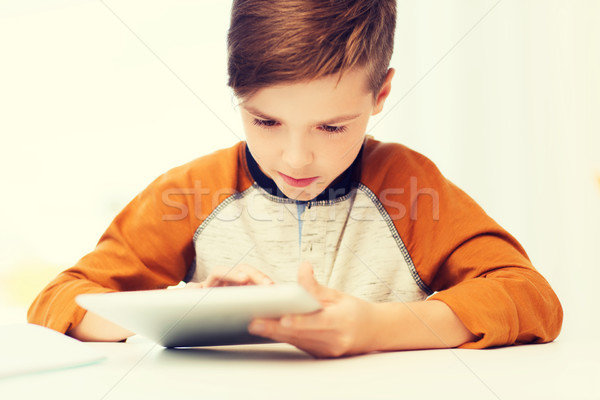 close up of boy with tablet pc computer at home Stock photo © dolgachov