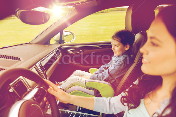 happy woman with little girl driving in car Stock photo © dolgachov
