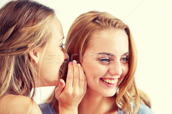 happy young women whispering gossip at home Stock photo © dolgachov
