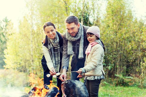 happy family roasting marshmallow over campfire Stock photo © dolgachov