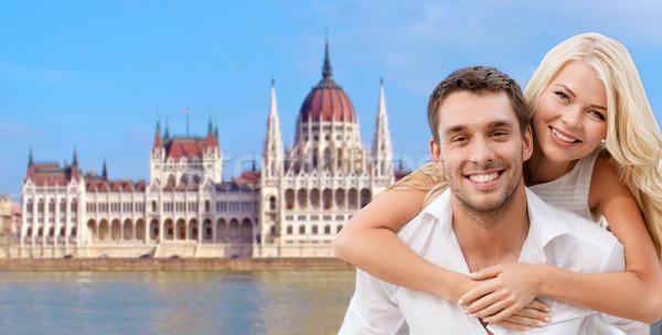 Gelukkig paar huis parlement Boedapest reizen Stockfoto © dolgachov