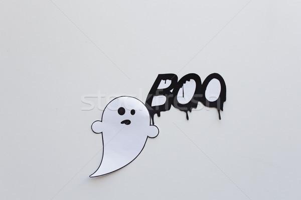 Fantasma doodle parola bianco halloween decorazione Foto d'archivio © dolgachov