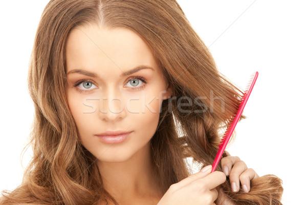 Schöne Frau Kamm hellen Bild Frau Gesicht Stock foto © dolgachov