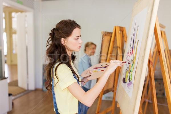 Student dziewczyna sztaluga malarstwo sztuki szkoły Zdjęcia stock © dolgachov