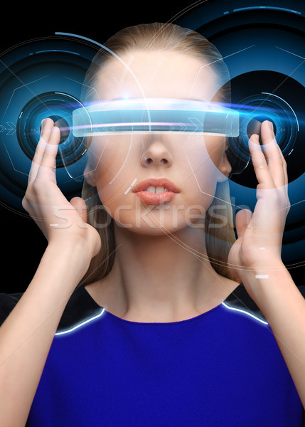Nő virtuális valóság 3d szemüveg hologram tudomány Stock fotó © dolgachov