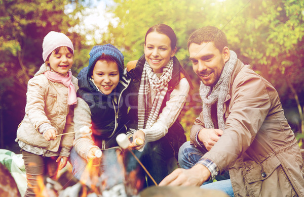 happy family roasting marshmallow over campfire Stock photo © dolgachov