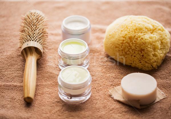 Cabelo escove creme esponja sabão bar Foto stock © dolgachov