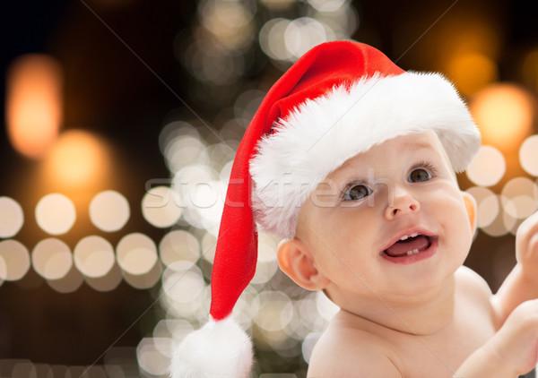 Foto stock: Pequeno · bebê · seis · natal