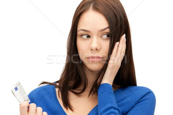 unhappy woman with euro cash money Stock photo © dolgachov