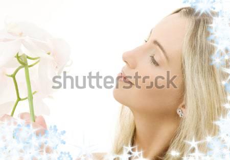 Stockfoto: Lelie · blond · water · bloemen · mooie · dame