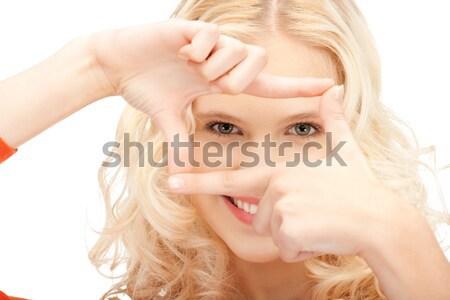 женщину жест фотография красивая женщина Сток-фото © dolgachov