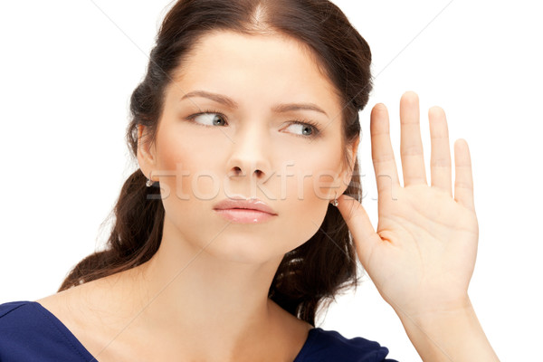 Mulher escuta fofoca brilhante quadro mulher jovem Foto stock © dolgachov