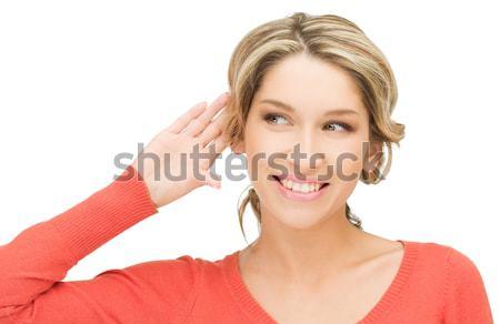 Femme chuchotement potins lumineuses photos bureau Photo stock © dolgachov
