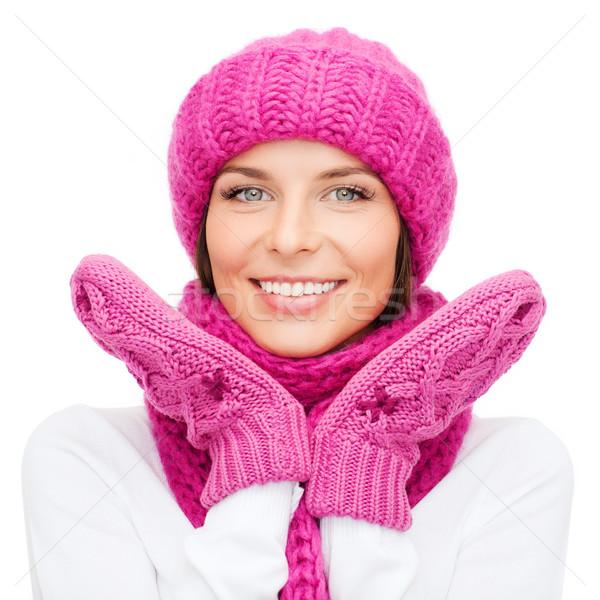 Stok fotoğraf: Kadın · şapka · eldiveni · kış · insanlar