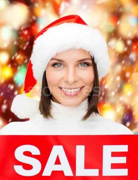 Vrouw helper hoed Rood verkoop Stockfoto © dolgachov