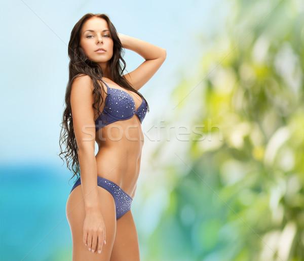 Kuszący brunetka sexy bielizna wakacje piękna Zdjęcia stock © dolgachov