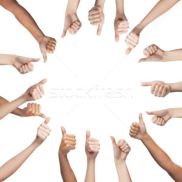 Emberi kezek mutat remek kör kézmozdulat Stock fotó © dolgachov