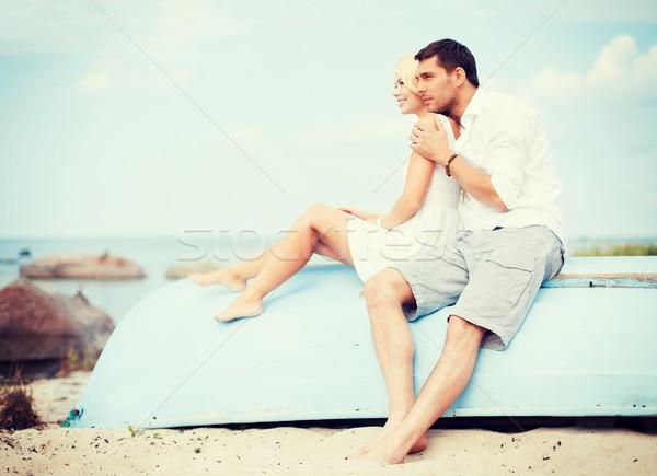 Foto stock: Casal · mar · lado · verão · férias · namoro