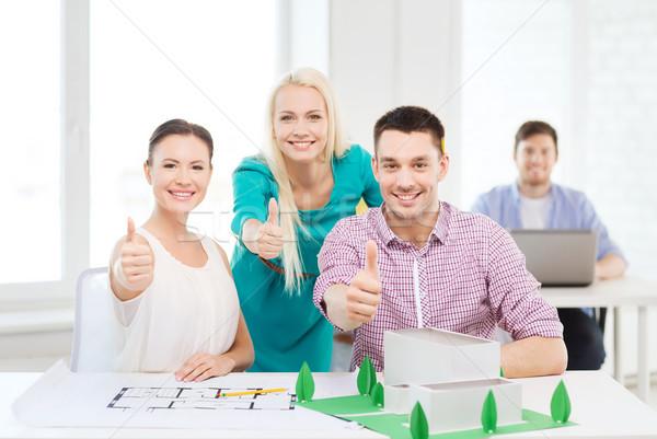 笑みを浮かべて 作業 オフィス スタートアップ 教育 アーキテクチャ ストックフォト © dolgachov