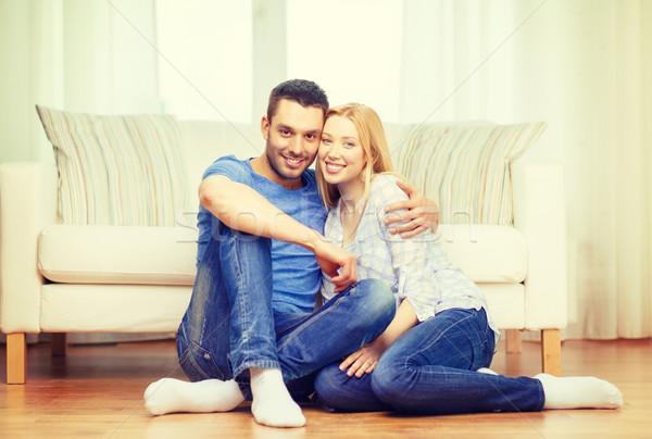 Mosolyog boldog pár otthon szeretet család Stock fotó © dolgachov