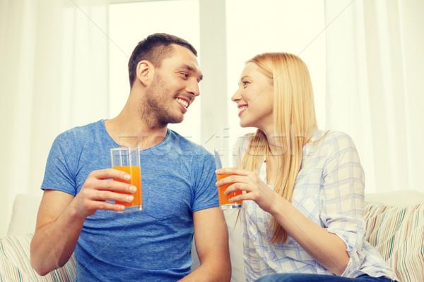 Сток-фото: улыбаясь · счастливым · пару · домой · питьевой · сока