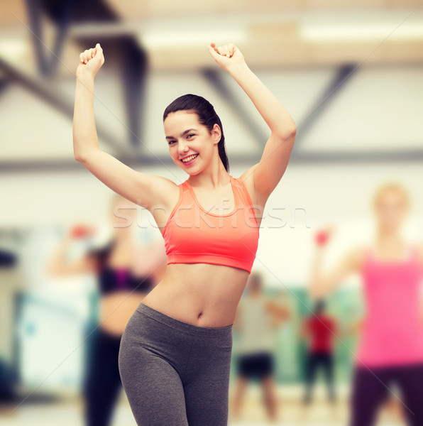 Glimlachend tienermeisje sportkleding dansen fitness dieet Stockfoto © dolgachov