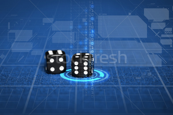close up of black dice on blue casino table Stock photo © dolgachov