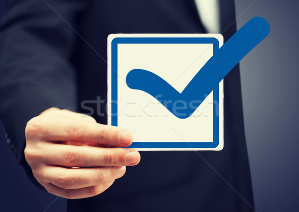 closeup of checkbox and blue mark in it Stock photo © dolgachov