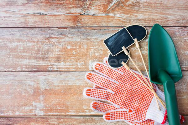 close up of trowel, nameplates and garden gloves Stock photo © dolgachov