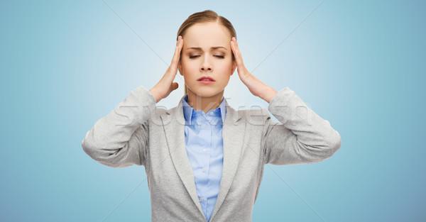 Imprenditrice mal di testa business medicina salute Foto d'archivio © dolgachov