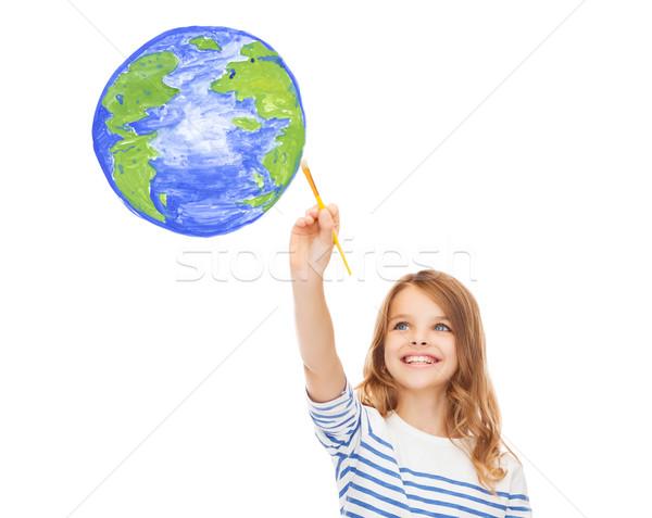 Stockfoto: Cute · meisje · tekening · borstel · aarde · onderwijs