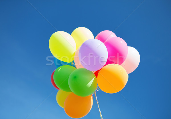 Kleurrijk ballonnen hemel viering partij zon Stockfoto © dolgachov