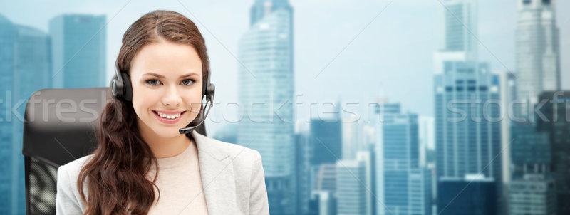 Sorridere femminile helpline operatore auricolare persone Foto d'archivio © dolgachov