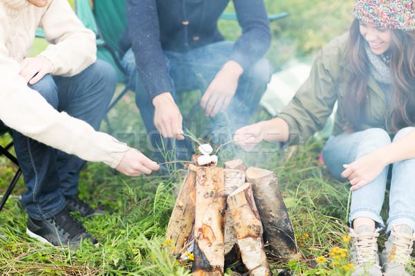 close up of hikers roasting marshmallow on fire Stock photo © dolgachov