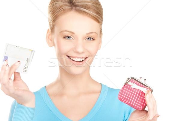 Stock fotó: Nő · pénztárca · pénz · kép · papír · arc