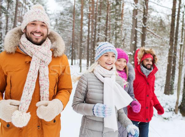 Сток-фото: группа · улыбаясь · мужчин · женщины · зима · лес