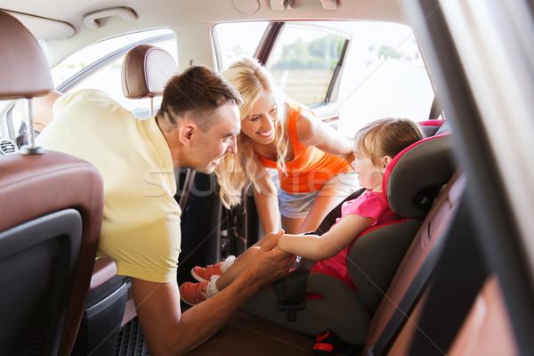 Stock fotó: Szülők · beszél · kislány · baba · autó · ülés