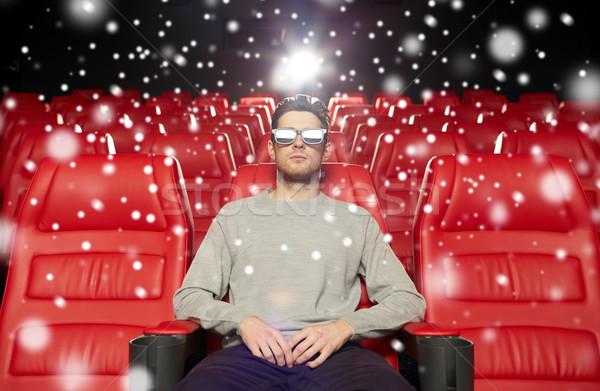 молодым человеком смотрят фильма 3D театра кино Сток-фото © dolgachov