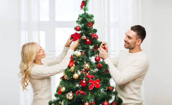 Stockfoto: Gelukkig · paar · kerstboom · home · familie · kerstmis