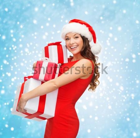 ストックフォト: 美しい · セクシーな女性 · サンタクロース · 帽子 · ギフトボックス · 人