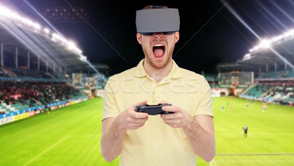 Człowiek faktyczny rzeczywistość zestawu boisko do piłki nożnej 3D Zdjęcia stock © dolgachov