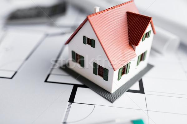 close up of living house model on blueprint Stock photo © dolgachov