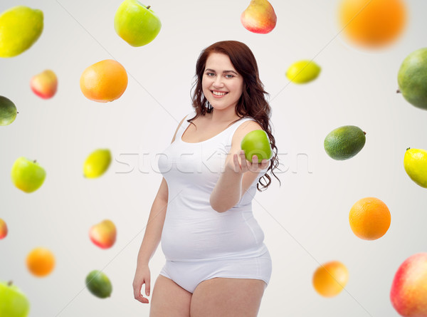 Boldog plus size nő alsónemű alma fogyókúra Stock fotó © dolgachov