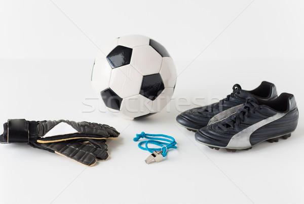 Közelkép futballabda kesztyű síp csizma sport Stock fotó © dolgachov