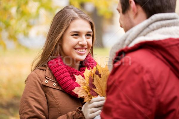 Boldog pár juhar levelek ősz park Stock fotó © dolgachov