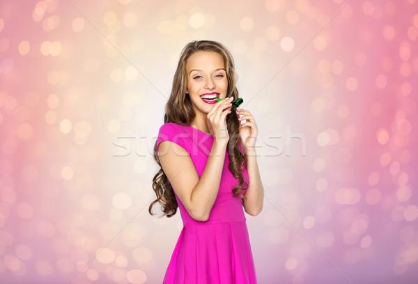 Gelukkig jonge vrouw tienermeisje partij hoorn mensen Stockfoto © dolgachov