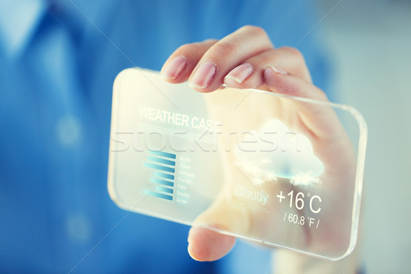 close up of woman with weather cast on smartphone Stock photo © dolgachov
