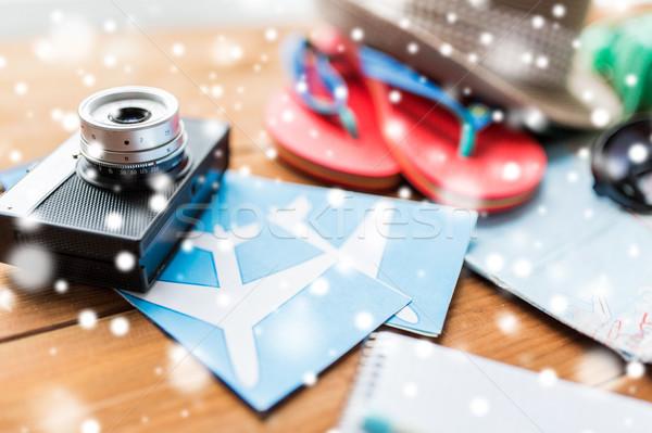 Camera tickets reizen toerisme winter Stockfoto © dolgachov